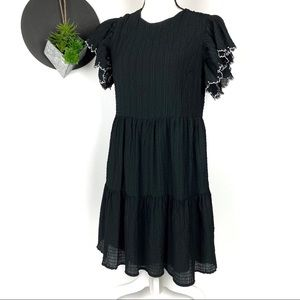 Who What Wear Black Smocked Dress w Embroiderd slv